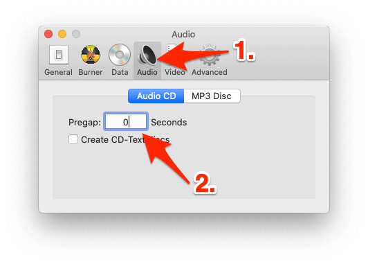 the Audio tab of the Burn app with an arrow pointing to the PreGap option
