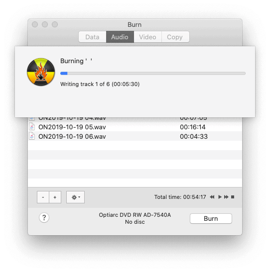 recording an audio cd from flac files in macOS