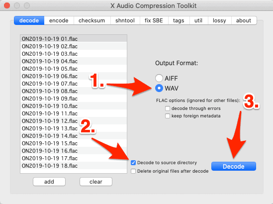 decoding flac files in xAct