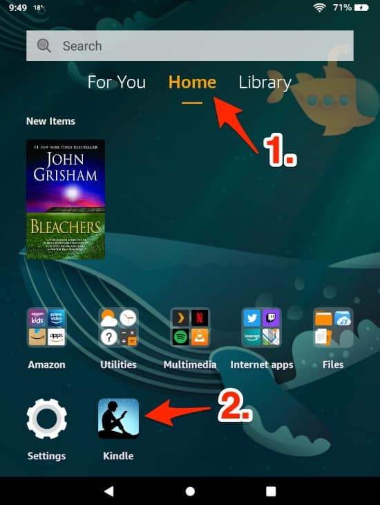 the Amazon Fire HD tablet home screen with an arrow pointing at the Kindle app
