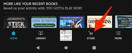 the Kindle app on an Amazon Fire HD