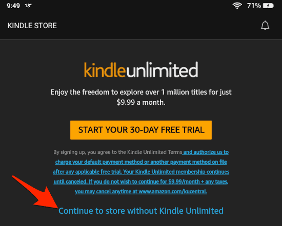 prompt to try the Kindle Unlimited service
