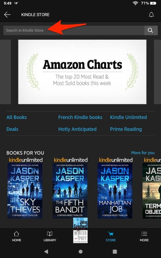 the Store on the Amazon Fire HD where you can purchase a book