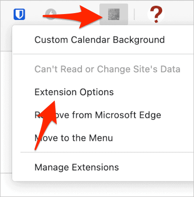 an arrow pointing to the Extension Options item in a list of options for a Chrome extension