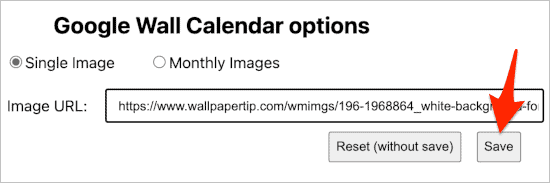 selecting an image to use as a background for Google Calendar