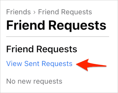 an arrow pointing to a link titled View Sent Requests