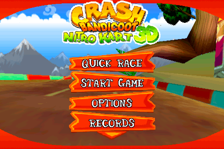 crash bandicoot nitro kart 3d for the iphone and ipod touch menu