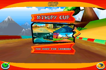 crash bandicoot nitro kart 3d for the iphone and ipod touch cup menu