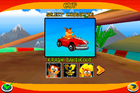 crash bandicoot nitro kart 3d for the iphone and ipod touch select your character