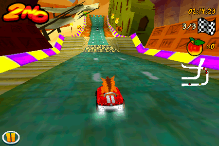 crash bandicoot nitro kart 3d for the iphone and ipod touch mid-race