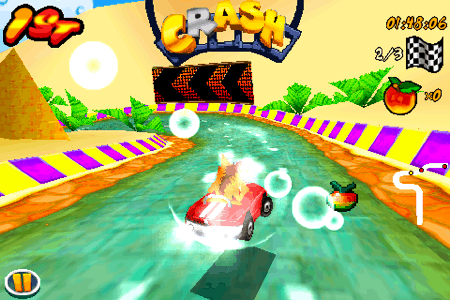 crash bandicoot nitro kart 3d for the iphone and ipod touch skid out