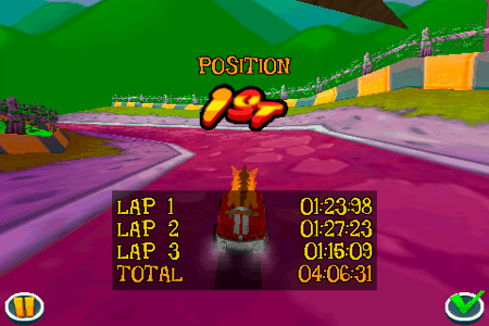 crash bandicoot nitro kart 3d for the iphone and ipod touch first place