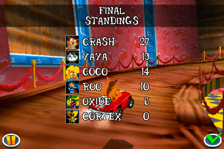 crash bandicoot nitro kart 3d for the iphone and ipod touch standings