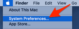 the Apple menu with System Preferences highlighted