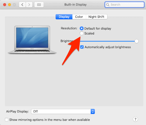 changing the macOS screen resolution