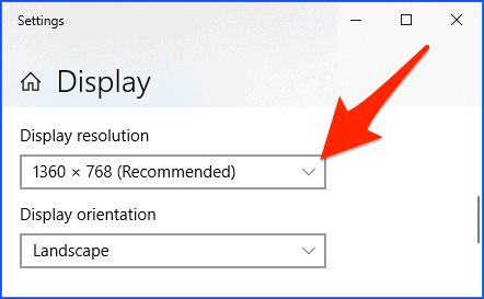 the Display section of the Windows 10 control panel