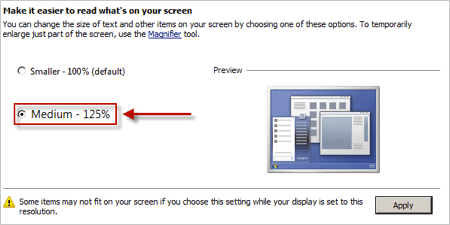 change windows font size in the Control Panel