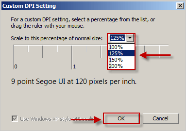 list of custom DPI Settings in Windows 7