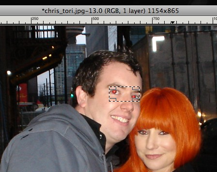 gimp rectangle tool selecting red eyes in a photo to remove