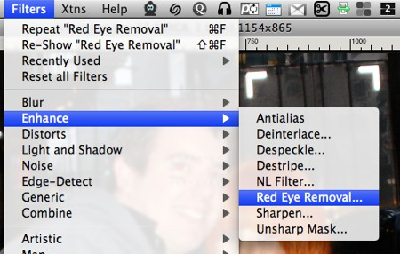 screenshot of the gimp filter to remove red eye
