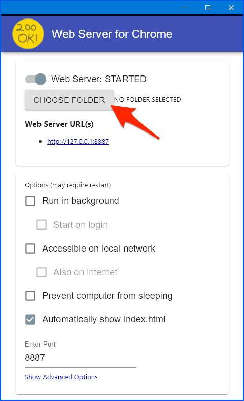 Web Server for Chrome options