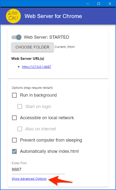 an arrow pointing at the link to Advanced Options for the Chrome Web Server extension