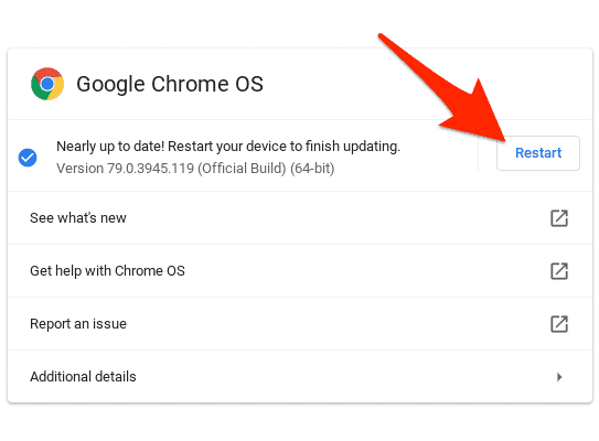 restart your Chromebook to update to the latest version of Chrome OS