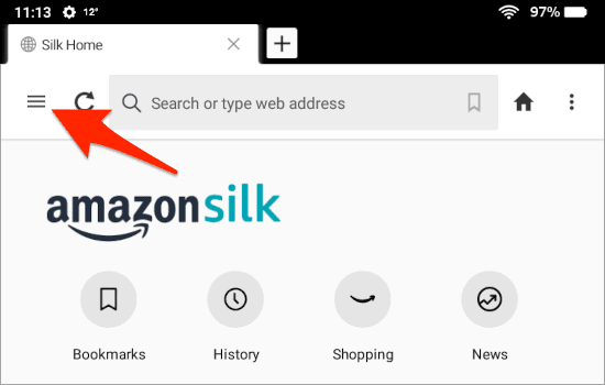 an arrow pointing at the 3 dashes Settings button in the Silk Browser