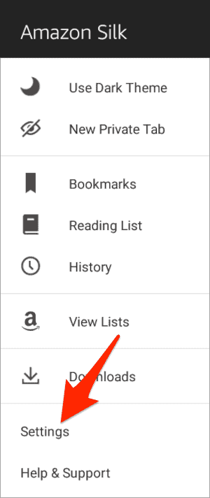 an arrow pointing to Settings in the Silk menu