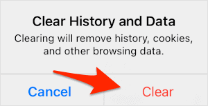 an arrow pointing at a button titled Clear