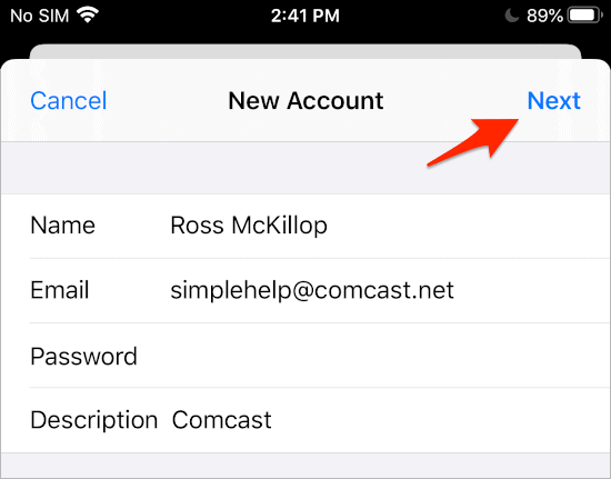 Adding Comcast Email to an iPhone