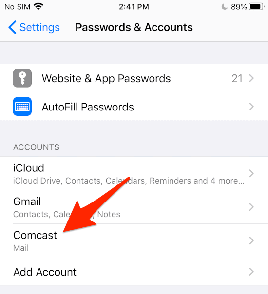 the list of Accounts on iOS with a Comcast email account highlighted