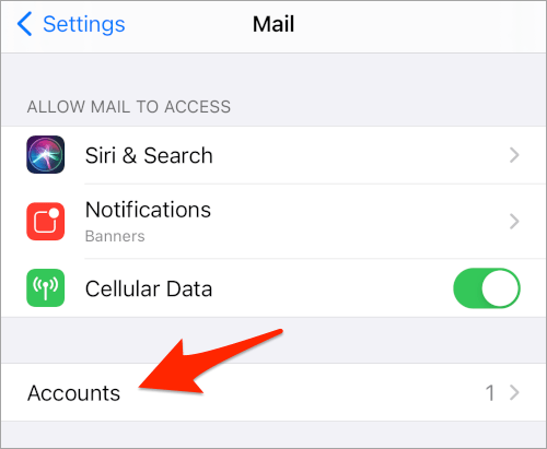 the iOS Mail settings with an arrow pointing to Accounts