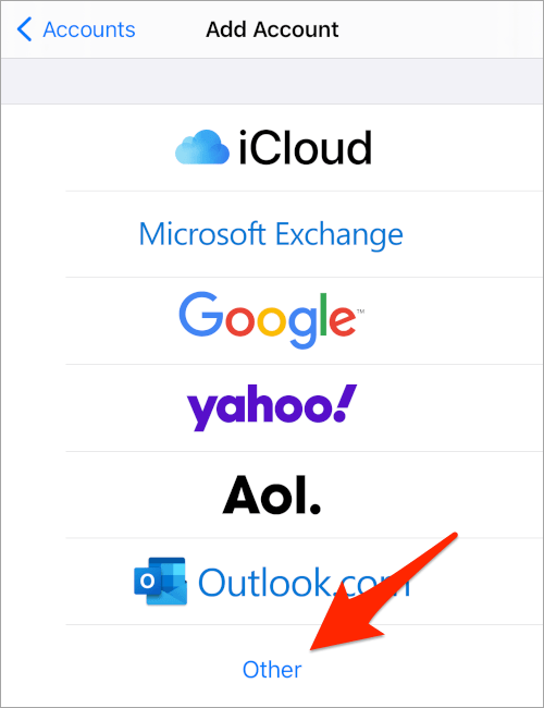 an arrow pointing to an Other button located below a list of email providers