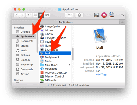 the Mail app icon in the Applications list of El Capitan