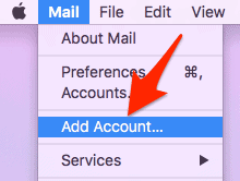 Add Account selected from Mail menu bar