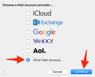 the first Mail setup screen