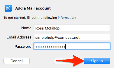 the Mail name username and password setup window