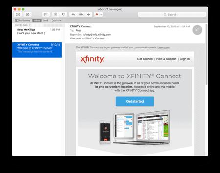 the main Mail window in OS X El Capitan