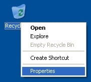 right-click recycle bin with properties highlighted