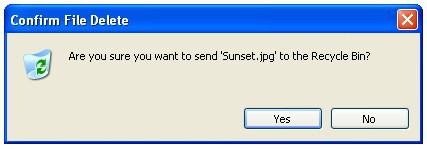 windows xp delete file confirmation prompt