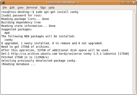 installing conky in Ubuntu via the terminal