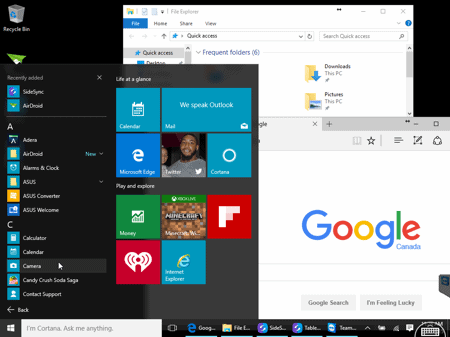 Windows 10 desktop viewed via an iPhone or iPad