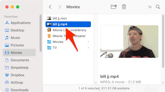 a finder window with an arrow pointing to a converted video that can now be watched on an iPhone