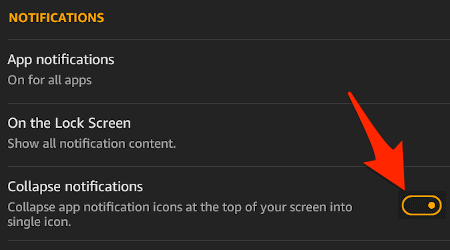 the notifications section of the amazon fire settings highlighting the toggle switch for grouping