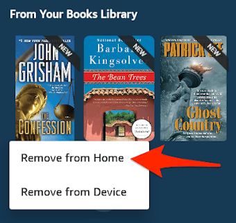 the amazon fire books home screen with a context menu