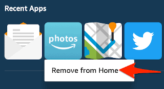 the amazon fire recent apps section on the home screen with a context menu