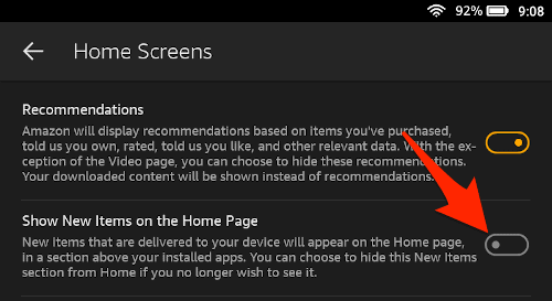 the amazon fire settings home screens section with the show new items toggle turned off