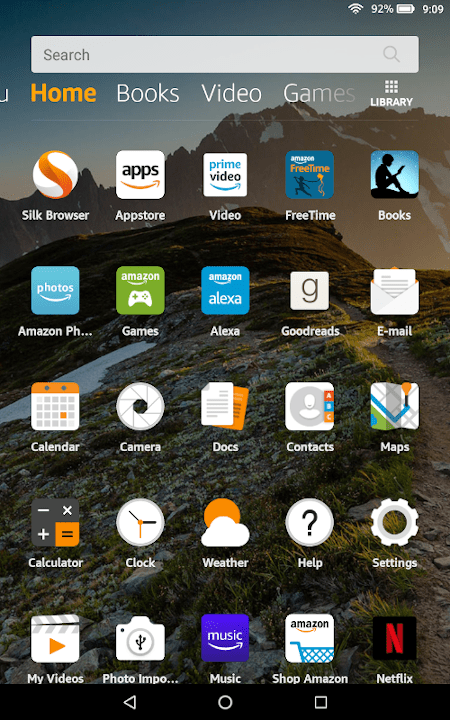 the amazon fire main home screen without the new items section