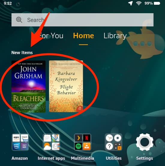 the amazon fire main home screen with new items highlighted